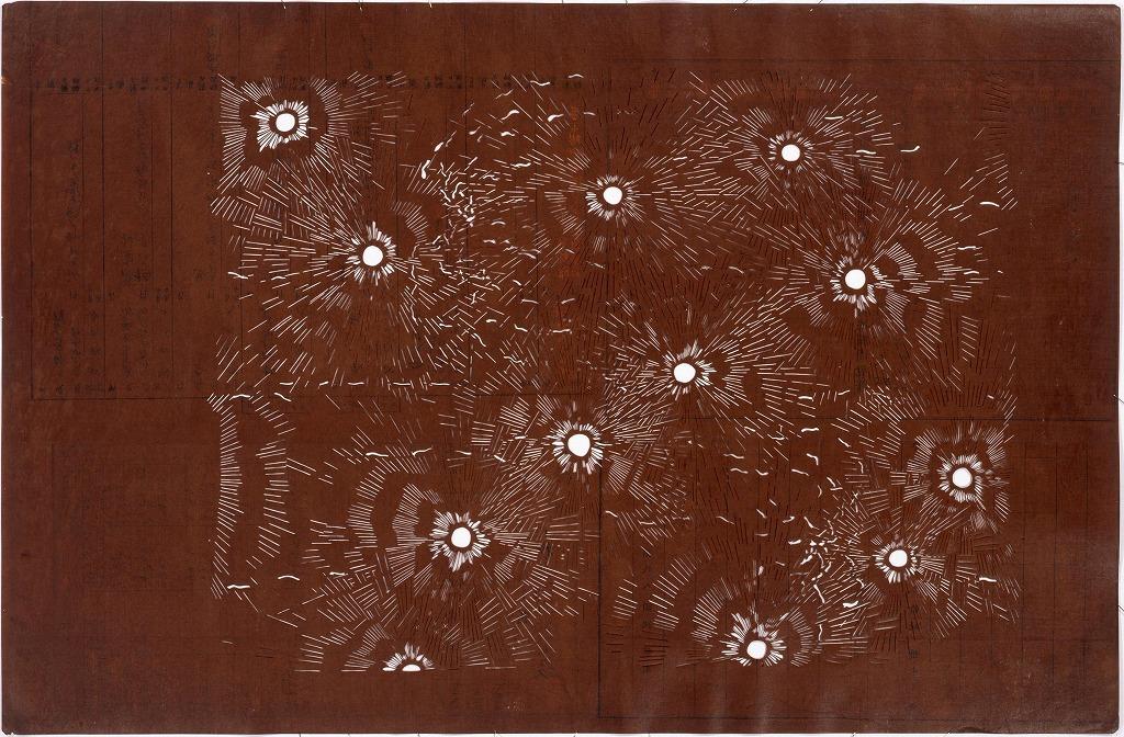 作品画像:長板中形型紙 花火(大判 追掛)