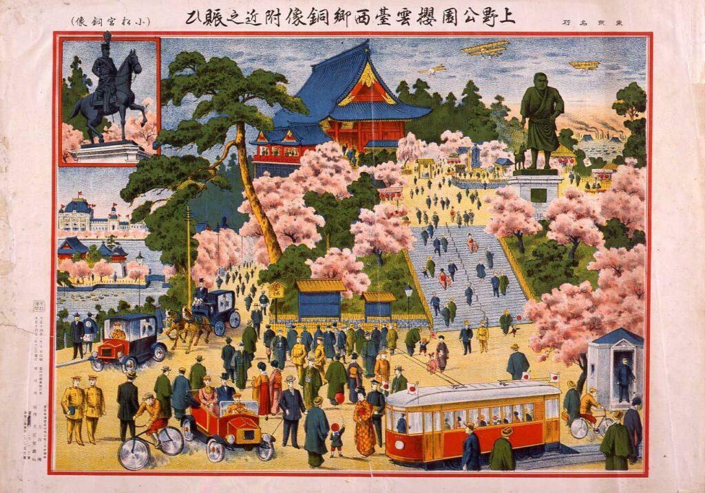 作品画像:東京名所 上野公園桜雲台西郷銅像附近之賑ひ