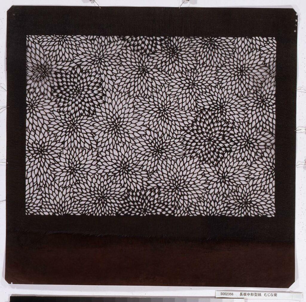 作品画像:長板中形型紙 むじな菊