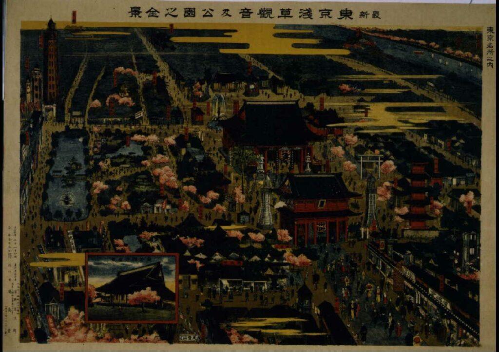 作品画像:東京名所之内 最新東京浅草観音及公園之全景