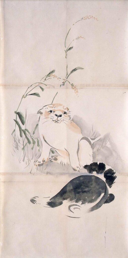 作品画像:粉本 二匹の仔犬と稗