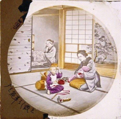 作品画像:母と子(幻燈原板)