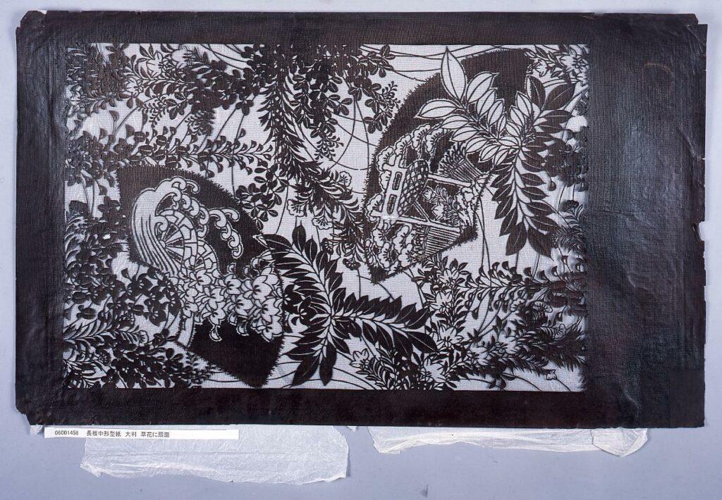 作品画像:長板中形型紙 大判 草花に扇面