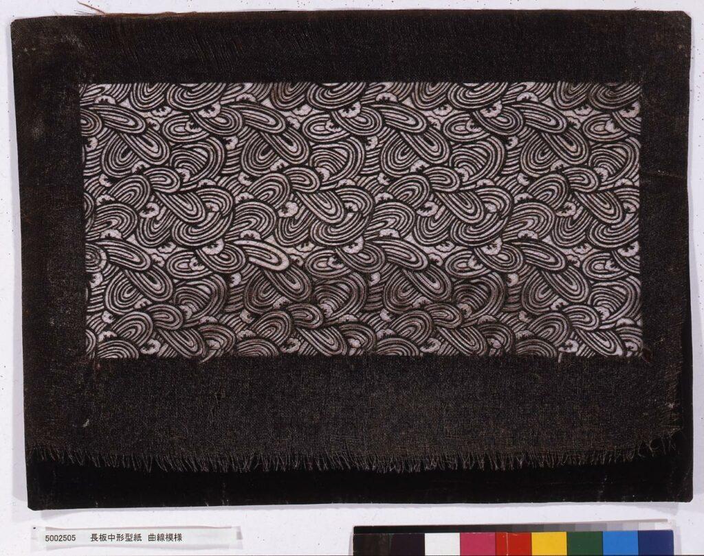 作品画像:長板中形型紙 曲線模様