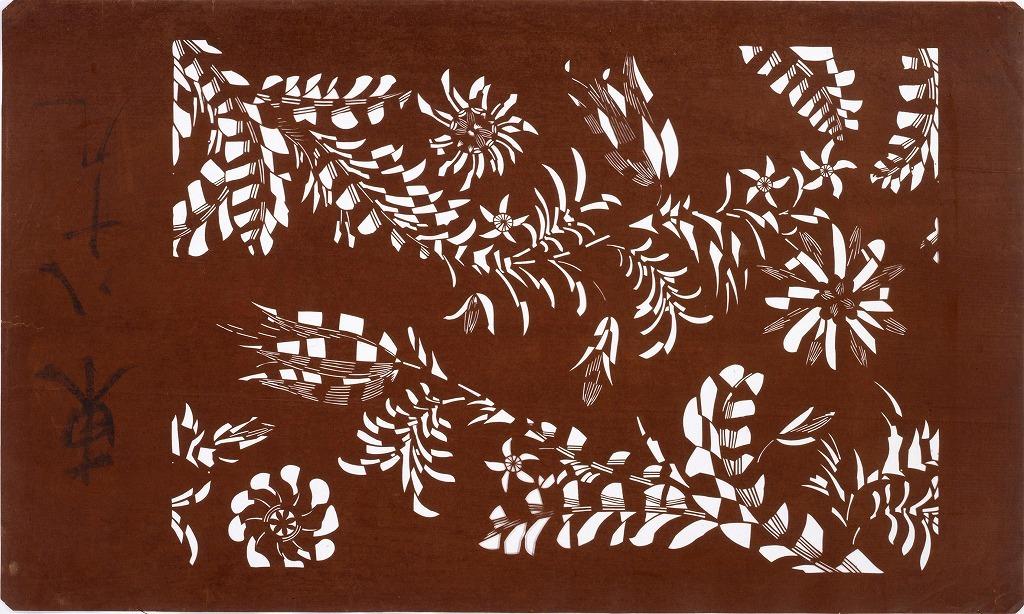 作品画像:長板中形型紙 洋花(大判 追掛)