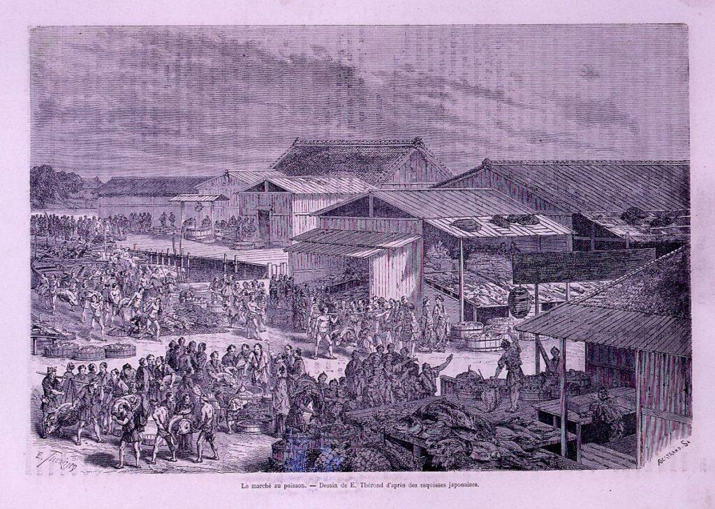 作品画像:アンベール「幕末日本図絵」挿絵 魚市場のセリ