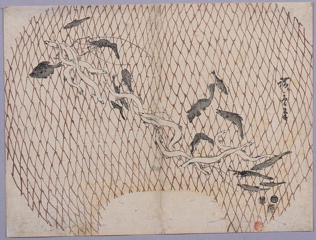 作品画像:団扇絵 網に魚づくし