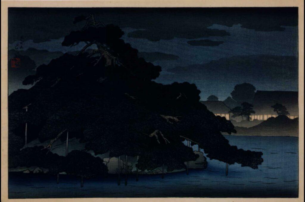 作品画像:三菱深川別邸の図 松の島の夜雨