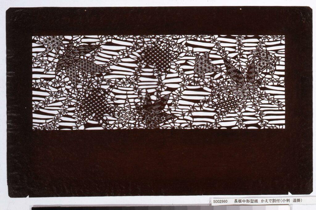 作品画像:長板中形型紙 かえで割付(小判 追掛)