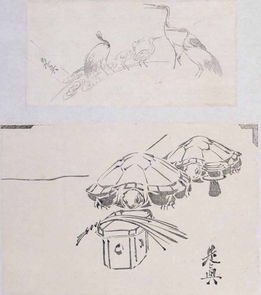 作品画像:墨版貼交 鶴、亀