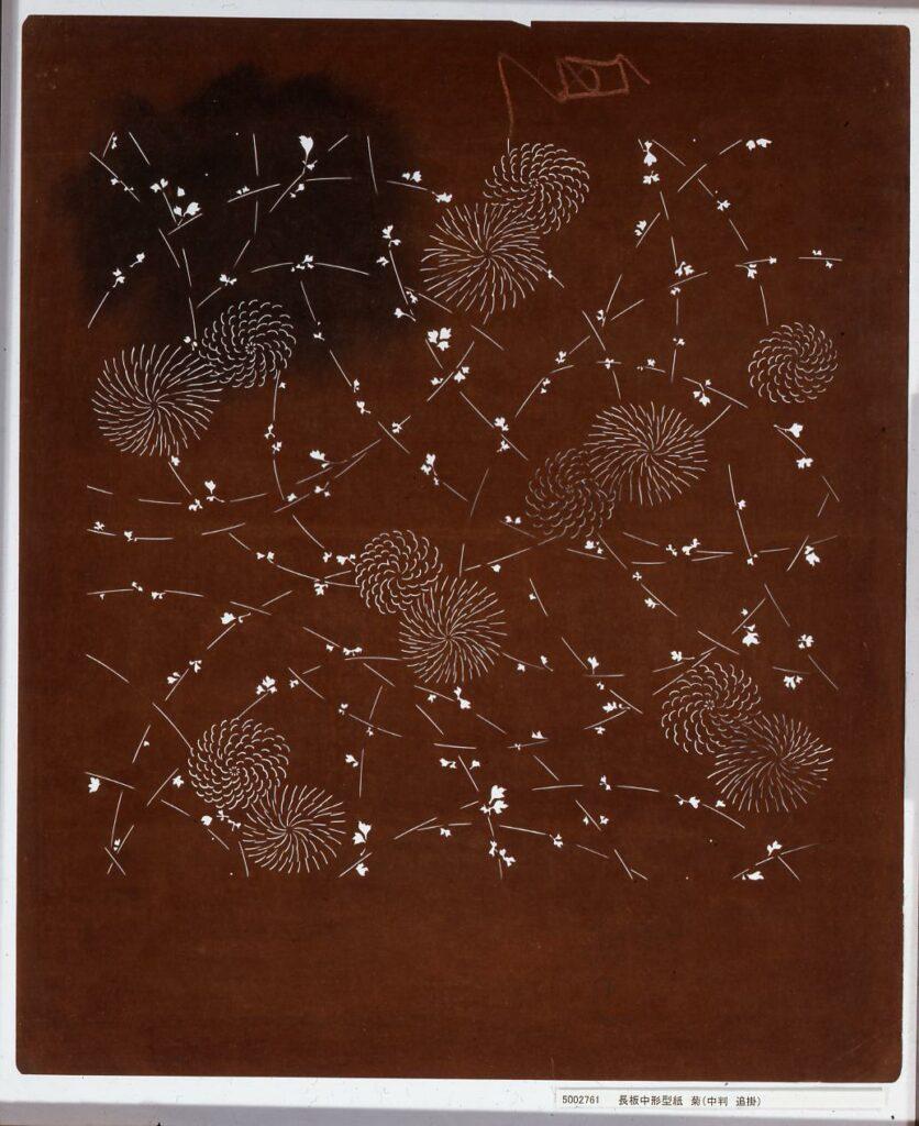 作品画像:長板中形型紙 菊(中判 追掛)