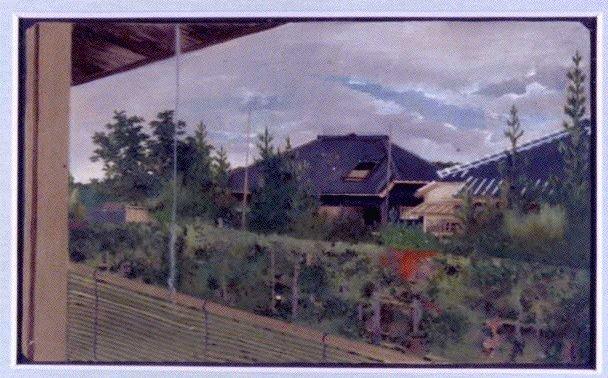 作品画像:油彩画  柏木の家