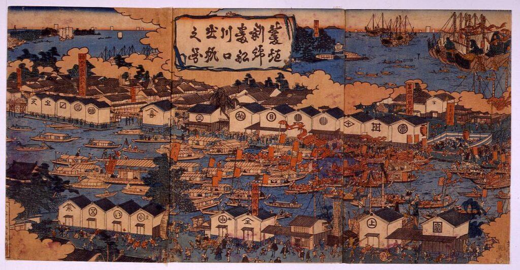 作品画像:菱垣新綿番船川口出帆之図