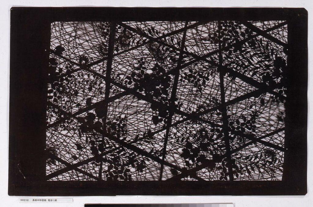 作品画像:長板中形型紙 籠目に萩
