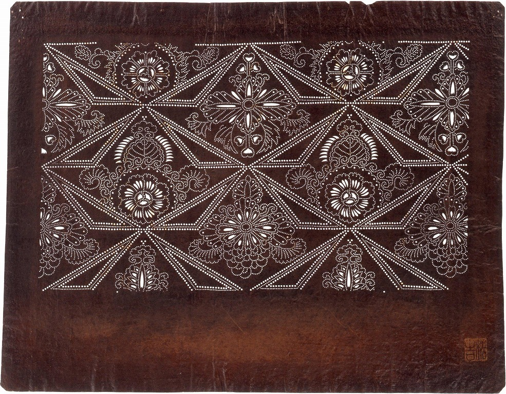 作品画像:長板中形型紙 幾何唐草