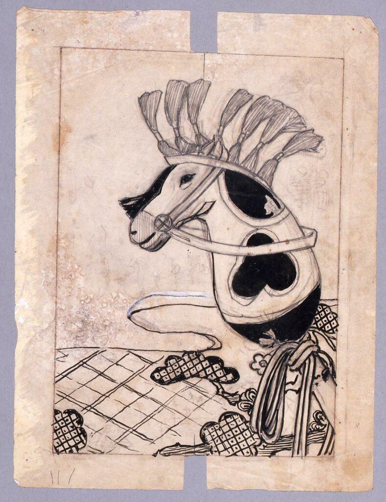 作品画像:下絵『新小説』 第11年第1巻表紙 春駒