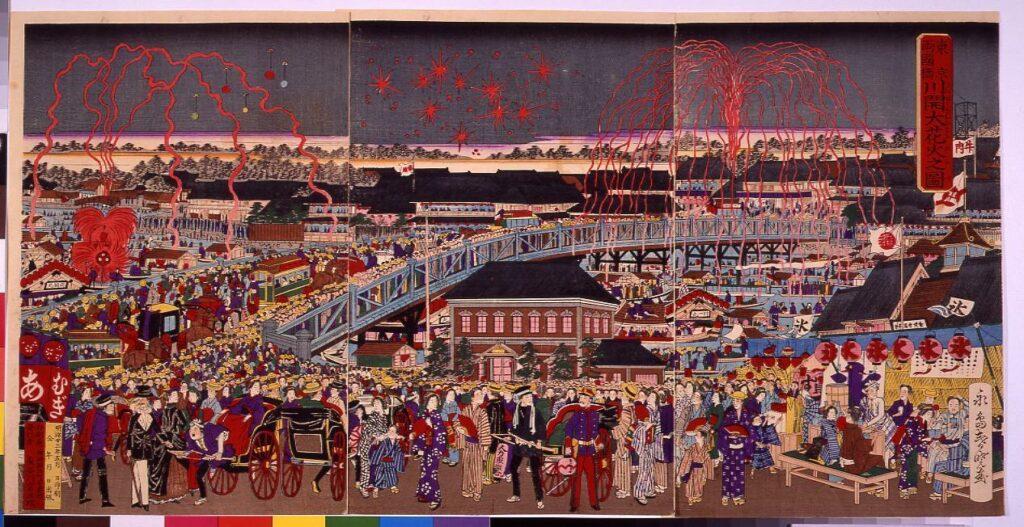 作品画像:東京両国橋 川開大花火之図