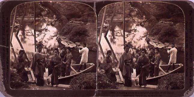 作品画像:A boating scene inA delightful garden of old Japan.3886