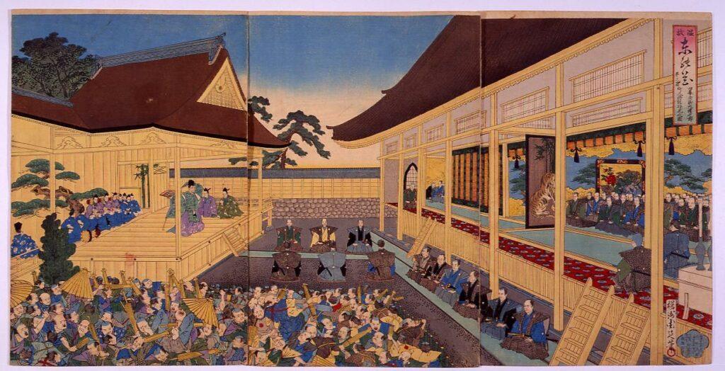 作品画像:温故東の花  旧幕府御大礼之節町人御能拝見之図