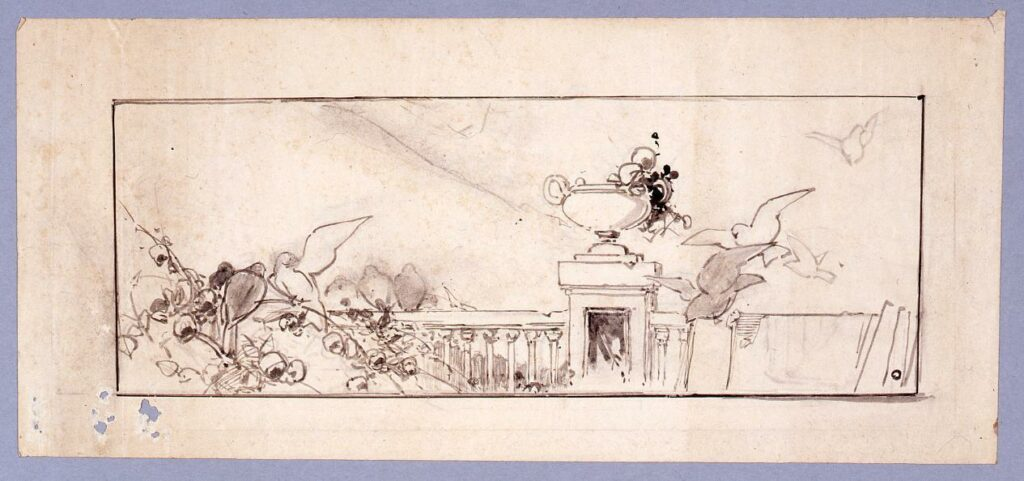 作品画像:下絵 ヴェネツィア風景(バルコニーに鳩)