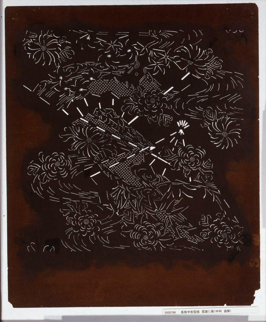 作品画像:長板中形型紙 扇面に菊(中判 追掛)
