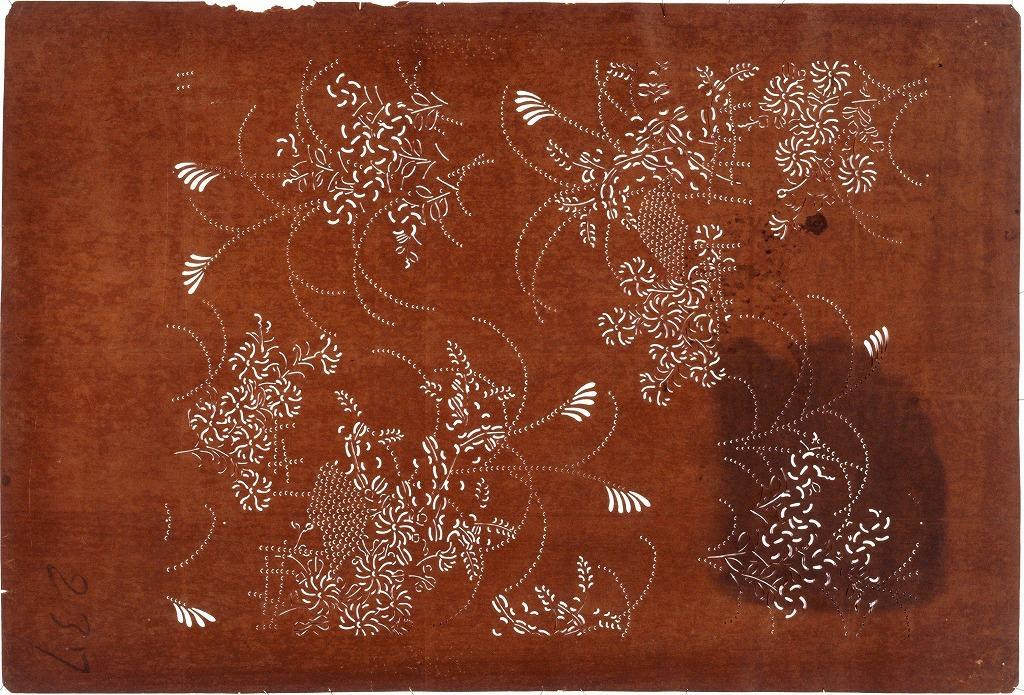 作品画像:長板中形型紙 鹿の子秋草(大判 追掛)