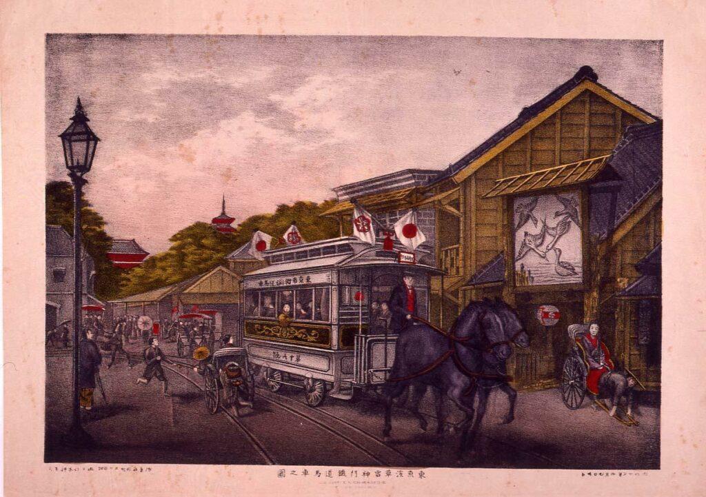 作品画像:東京浅草雷門鉄道馬車之図