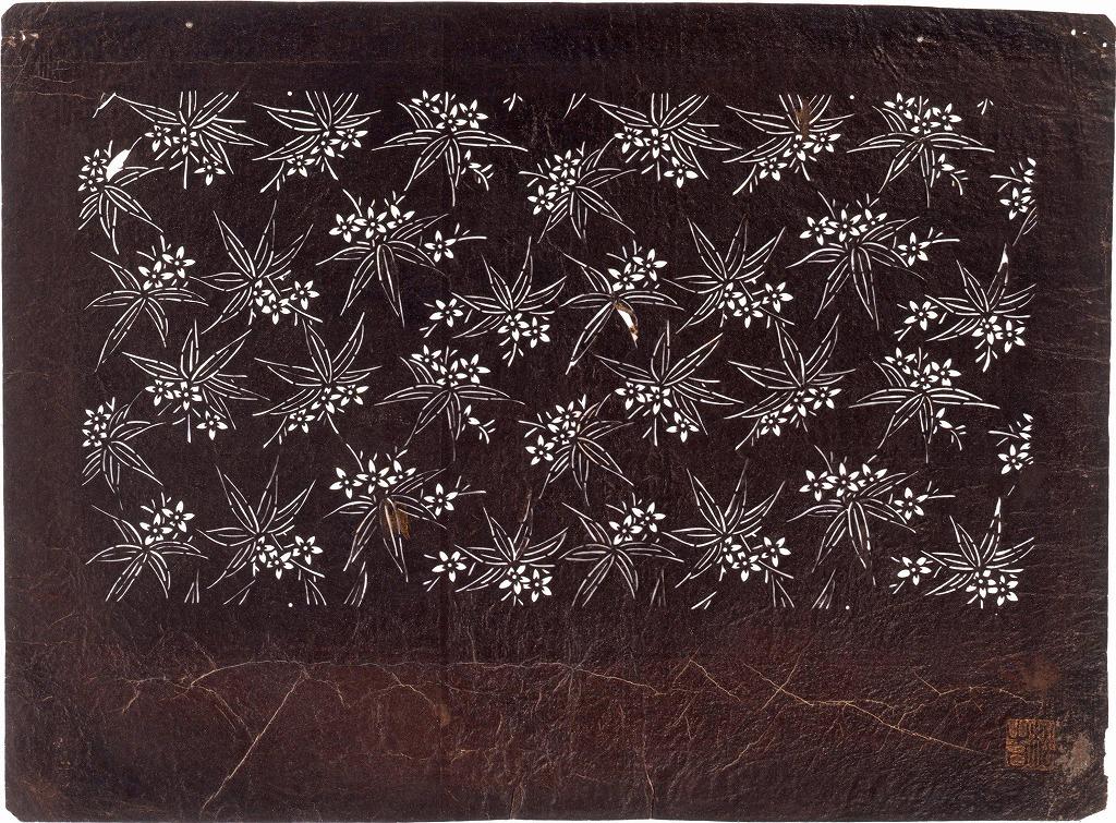 作品画像:長板中形型紙 笹に花