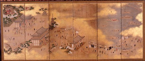 作品画像:上野浅草図屏風