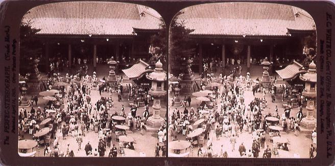 作品画像:Crowds flocking to the great Buddist Temple,Asakusa Kwannon,Tokio-the most popular inAll Japan. 3873
