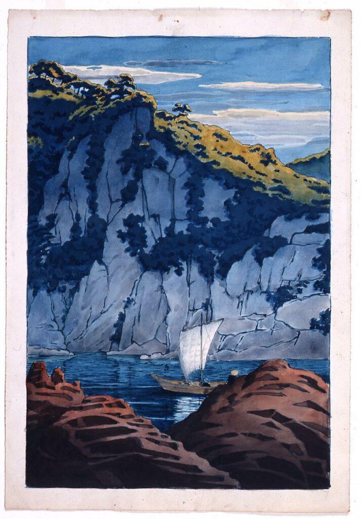 作品画像:旅みやげ第三集 木曽河蓬莱岩 原画