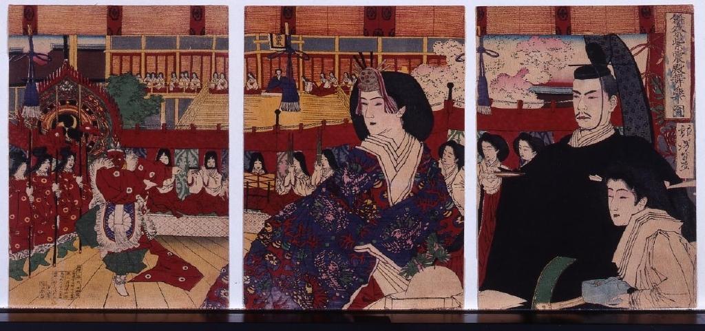 作品画像:縮緬絵 雛祭紫震殿舞楽ノ図