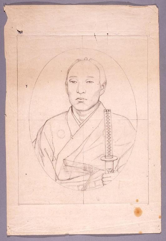 作品画像:下絵 武士肖像
