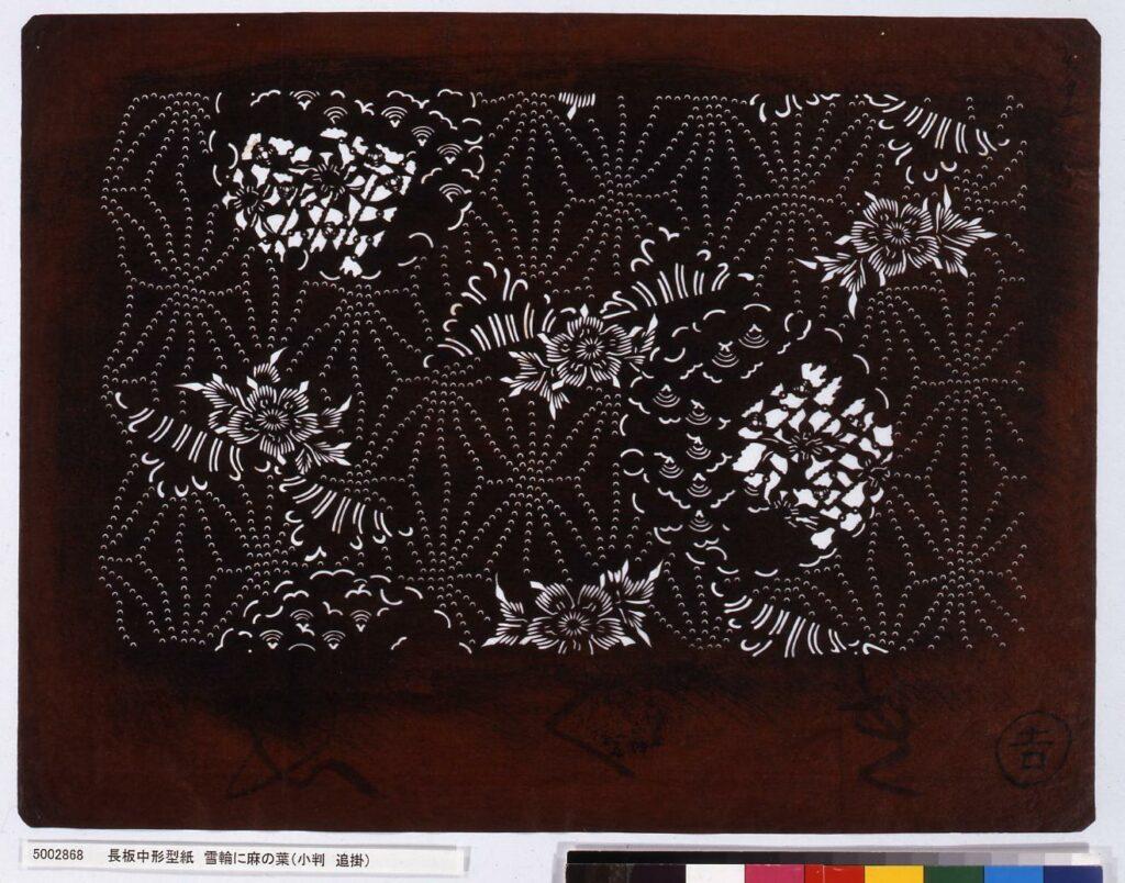 作品画像:長板中形型紙 雪輪に麻の葉(小判 追掛)
