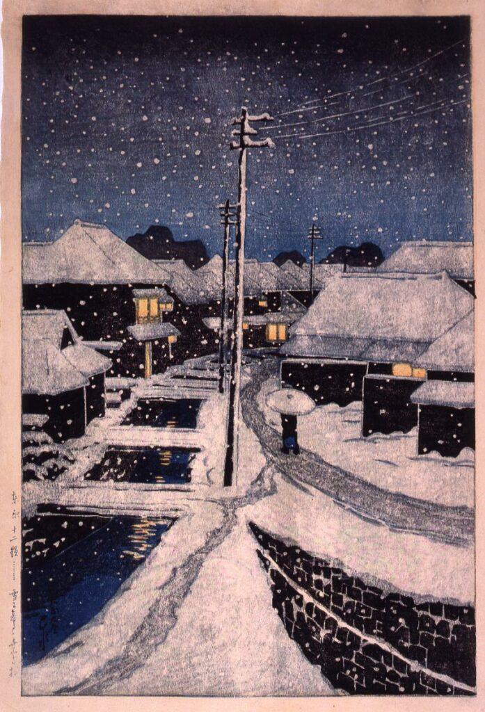 作品画像:東京十二題 雪に暮るる寺島村