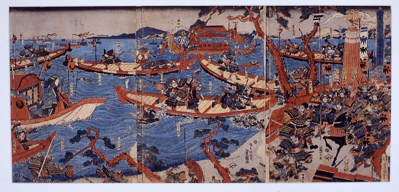 作品画像:芝居絵 源義経牟礼高松の陣小軍配の図