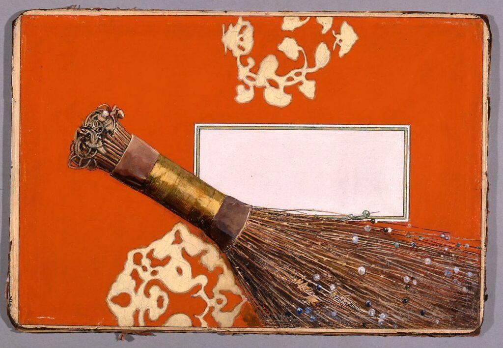 作品画像:油彩原画 『歴朝神徳録』扉絵「たまはばき」