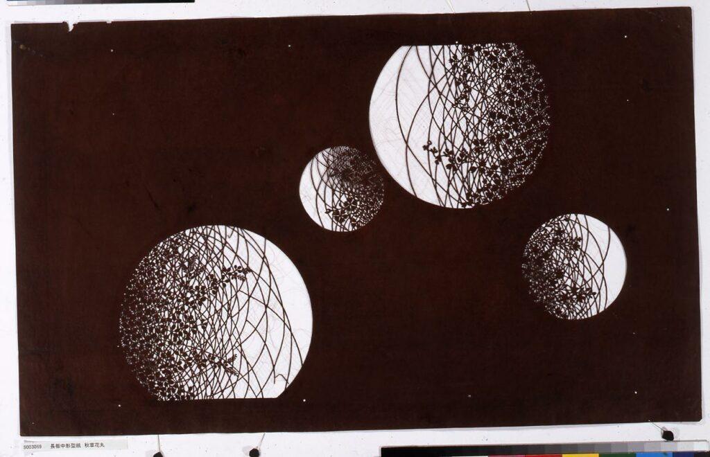 長板中形型紙 秋草花丸