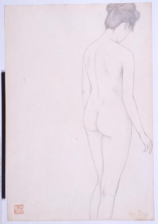 作品画像:浴衣を持ち立つ女・後ろ向きに立つ女