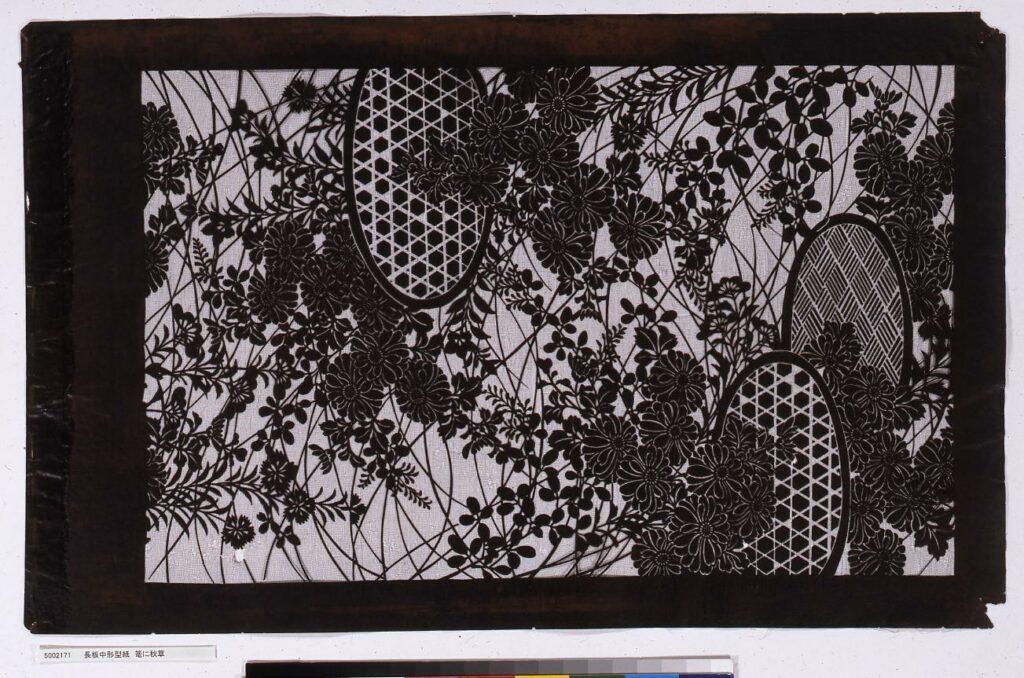 作品画像:長板中形型紙 籠に秋草