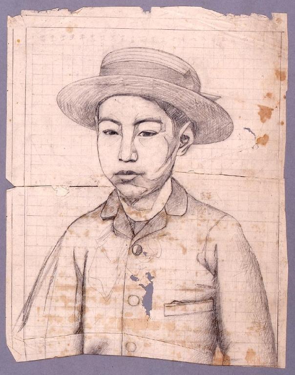 作品画像:下絵 帽子をかぶる男児肖像