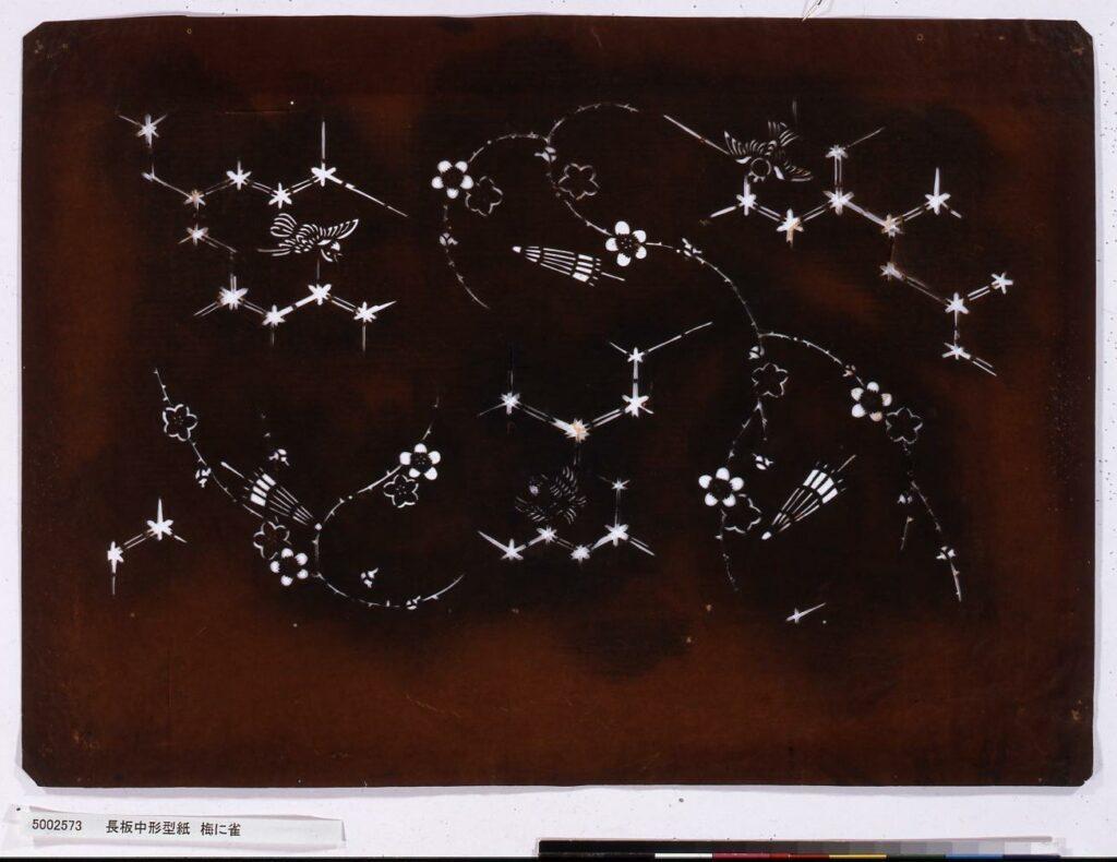 作品画像:長板中形型紙 梅に雀