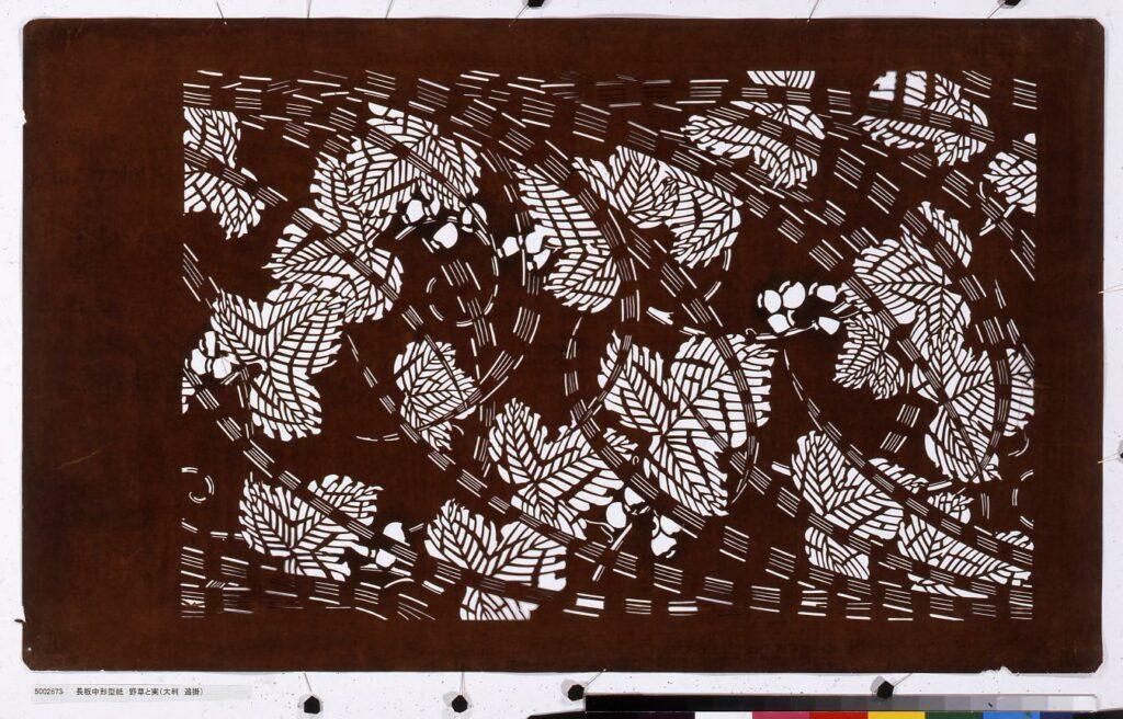 作品画像:長板中形型紙 野草と実(大判 追掛)