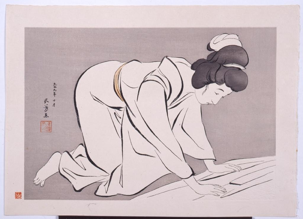 作品画像:着物をたたむ女