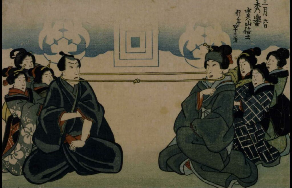 作品画像:初代坂東しうか 死絵 「首引き」