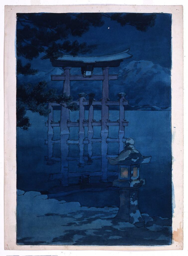 作品画像:旅みやげ第三集 星月夜(宮島)原画