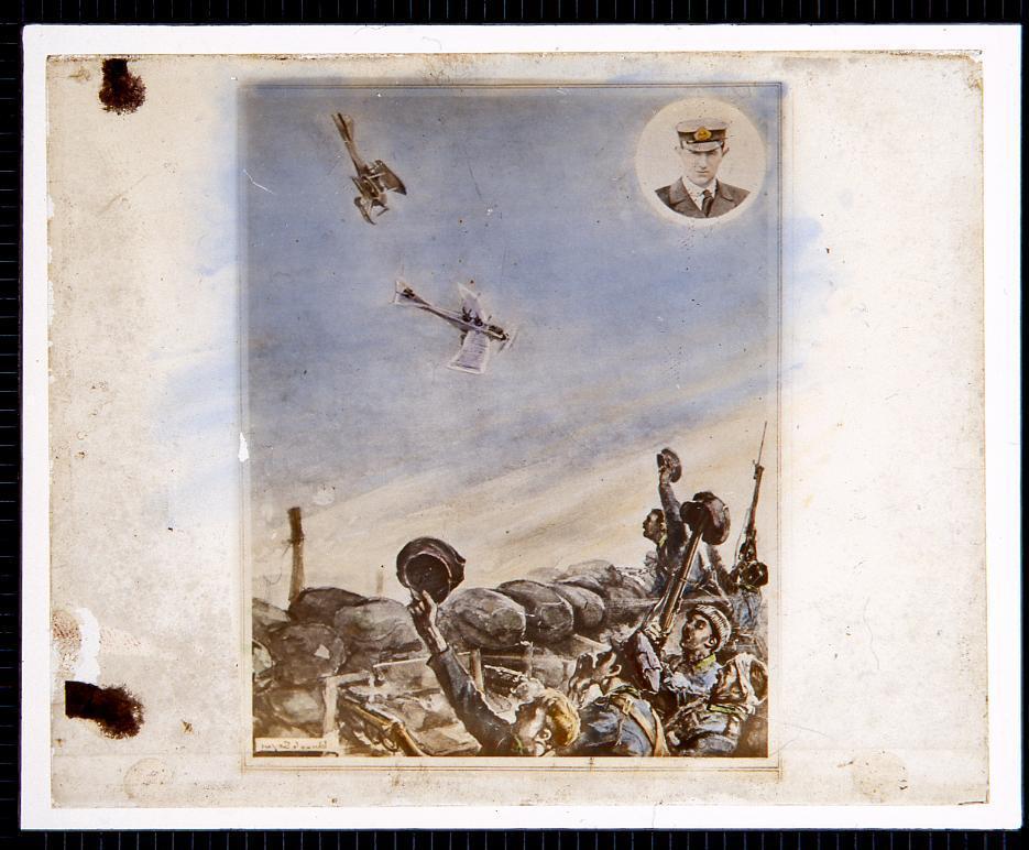 作品画像:戦場と飛行機2機の絵(幻燈原板)