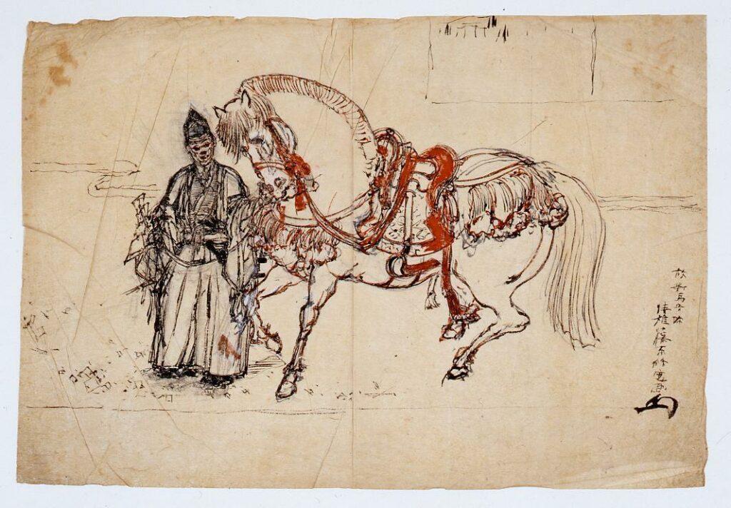 作品画像:下絵 馬をひく人物
