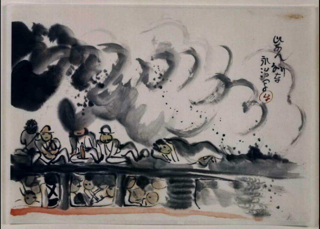 作品画像:関東大地震画:ひなん列車