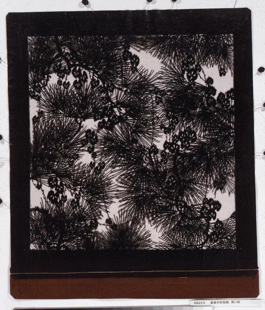 作品画像:長板中形型紙 蔦に松